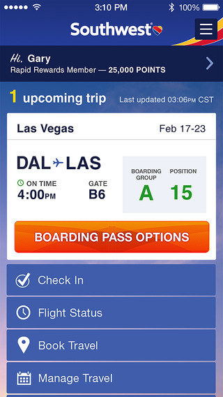 Southwest Airlines iPhone App